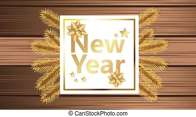 happy new year lettering card with golden leafs in wooden background