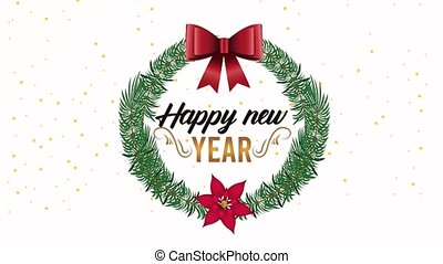 happy new year lettering card with ribbon in floral wreath frame ,4k video animation