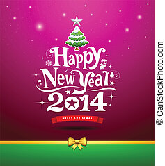 Happy New Year, lettering Greeting Card, vector illustration