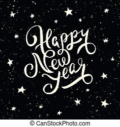Happy New Year lettering. Greeting card design