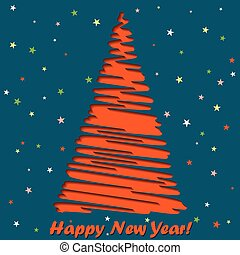 Happy New Year lettering Greeting Card, vector illustration