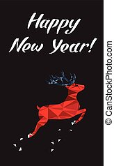 Happy New Year lettering Greeting Card with a deer. Vector illustration