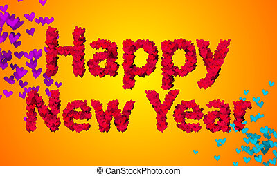 Happy New Year Love Shape Particles