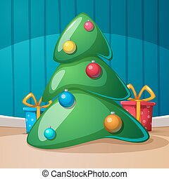 Happy new year, merry christmas. Gift, fir, rom...