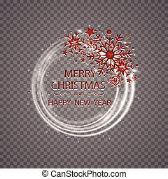 Happy New Year Merry Christmas greeting card golden glitter decoration. greeting card ornament of circle and text calligraphy lettering. Festive vector background Christmas decorative design