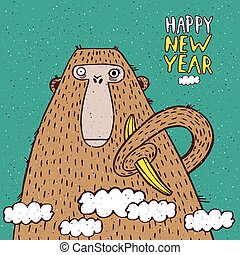 Happy New Year monkey with banana