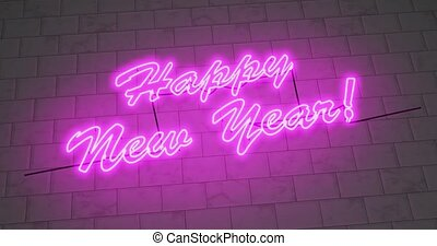 Happy New Year neon sign to celebrate a festive event ...
