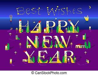 Happy New Year. Night Beach. Best Wishes