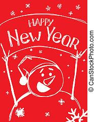 happy new year, od, sněhulák