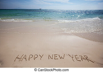 happy new year on beach