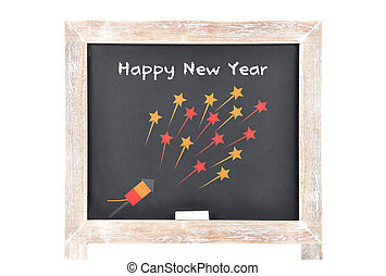 Happy New Year on blackboard