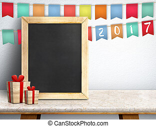 Happy new year on blackboard with gift and colorful flag banner on marble table at white wall, Leave space for display or montage of your design