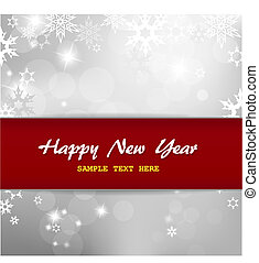 Happy New Year on silver background with snow flakes.