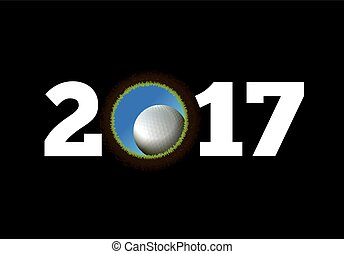 Happy New Year on the background of a golf ball falling into the hole