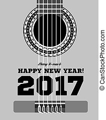 Happy New Year on the background of guitars and strings