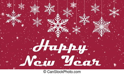 Happy new year on the background of hanging christmas snowflakes