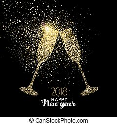 Happy New Year party drink gold glitter dust card - Happy...