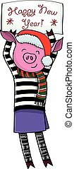Happy new year pig vector illustration