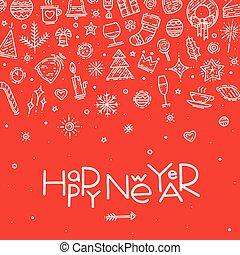Happy new year postcard vector illustration