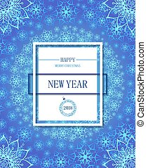 Happy New year poster or flayer. White snowflakes on a dark red
