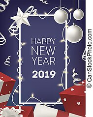 Happy New Year poster or postcard template with border decorated by glowing light garland, bauble, holiday presents on dark background. Festive realistic vector illustration for event celebration.