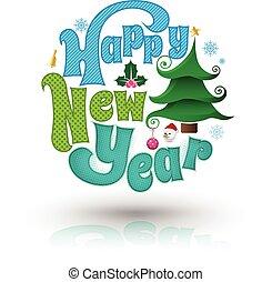 happy new year, pozdrav, card.