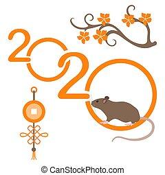 Happy new year Rat symbol of 2020 Chinese calendar