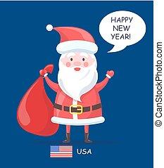 Happy New Year Santa Claus Vector Illustration
