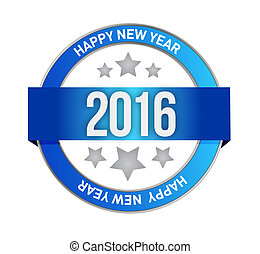 happy new year seal 2016 sign