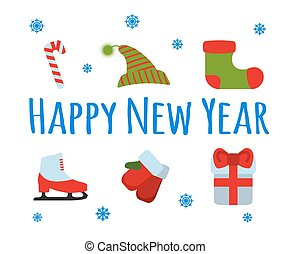 Happy New Year set sign and logo on blue background. Vector Illustration.