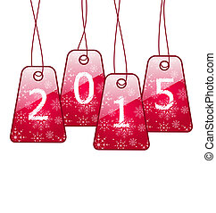 Happy new year, shiny labels isolated on white background