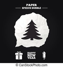 Happy new year sign. Christmas tree and gift box