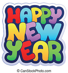 Happy New Year sign - vector illustration.