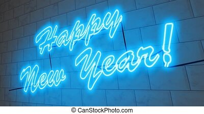 Happy New Year sign in neon to celebrate a festive event ...