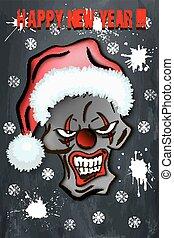Skull scary evil clown in Santa hat