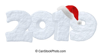 Happy New Year snow text 2019 with Santa Claus red hat