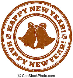 Happy new year stamp - Happy new year grunge stamp with...