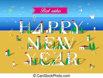 Happy New Year. Summer beach