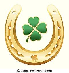 Happy New Year Symbol Four Leaf Clover Horseshoe