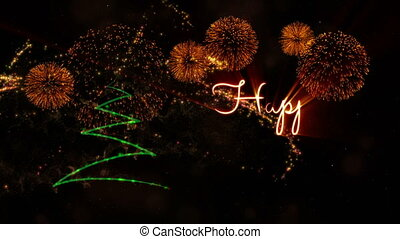 Happy New Year' text animation with pine tree and fireworks