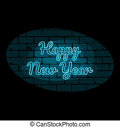 Happy new year text blue neon lights sign vector illustration