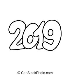 Happy New Year text design 2019