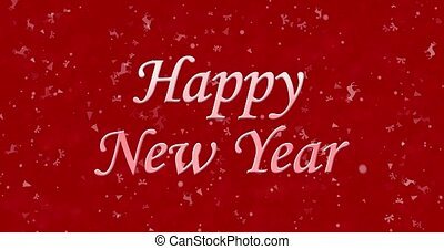 Happy New Year text formed from dust and turns to dust horizontally on red animated background