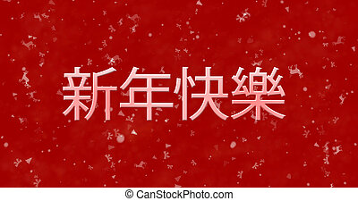 Happy New Year text in Chinese on red background