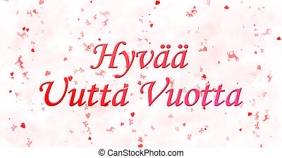"Happy New Year text in Finnish ""Hyvaa uutta vuotta"" on white..."
