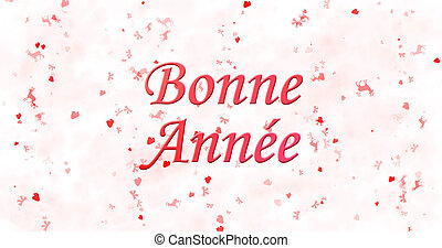 "Happy New Year text in French ""Bonne ann?e"" on white..."