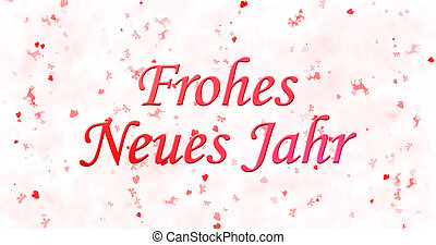 "Happy New Year text in German ""Frohes neues Jahr"" on white..."