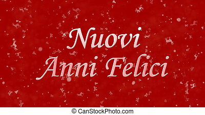 "Happy New Year text in Italian ""Nuovi anni felici"" on red..."