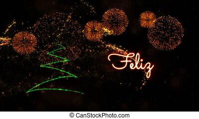 Happy New Year' text in Portuguese 'Feliz Ano Novo'...