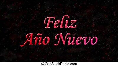 "Happy New Year text in Spanish ""Feliz ano nuevo"" formed from..."
